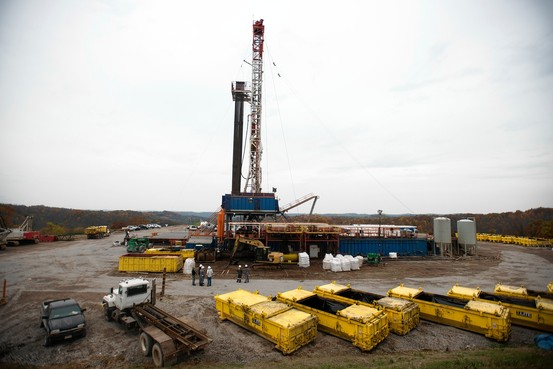 A rig drills for natural gas at a hydraulic fracturing site owned by EQT Corp. located atop the Marcellus shale rock formation in Pennsylvania. Bloomberg. Image from the Wall Street Journal.
